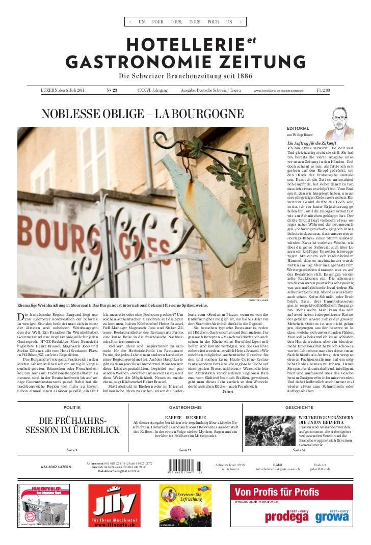 Luzern, den 6. Juli 2011                     no 23                CXXVI. Jahrgang               Ausgabe: Deutsche Schweiz ...