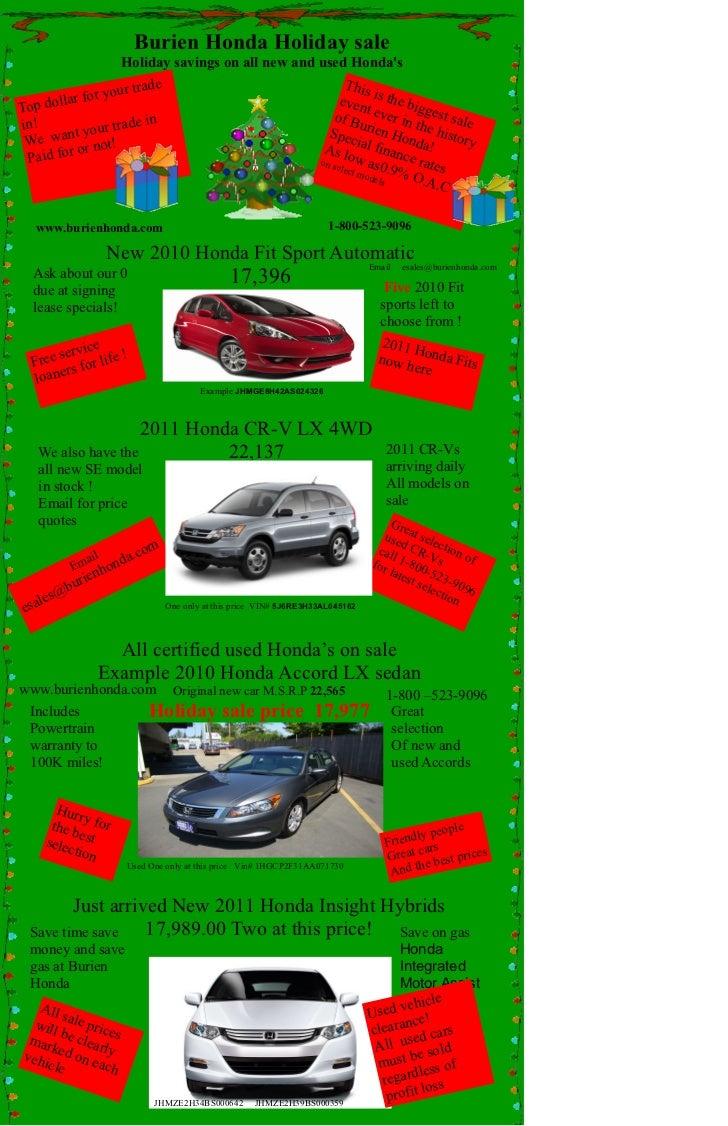 Honda Of Seattle >> Burien Honda Of Seattle Honda Holiday Sale