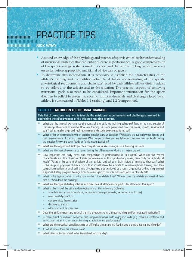 10 Clinical spo rts n utritio n Practice tips Nick Wray A sound knowledge of the physiology and practice of sport is criti...