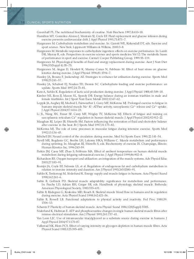 16 Clinical spo rts n utritio n Greenhaff PL. The nutritional biochemistry of creatine. Nutr Biochem 1997;8:610–18. Hamilt...