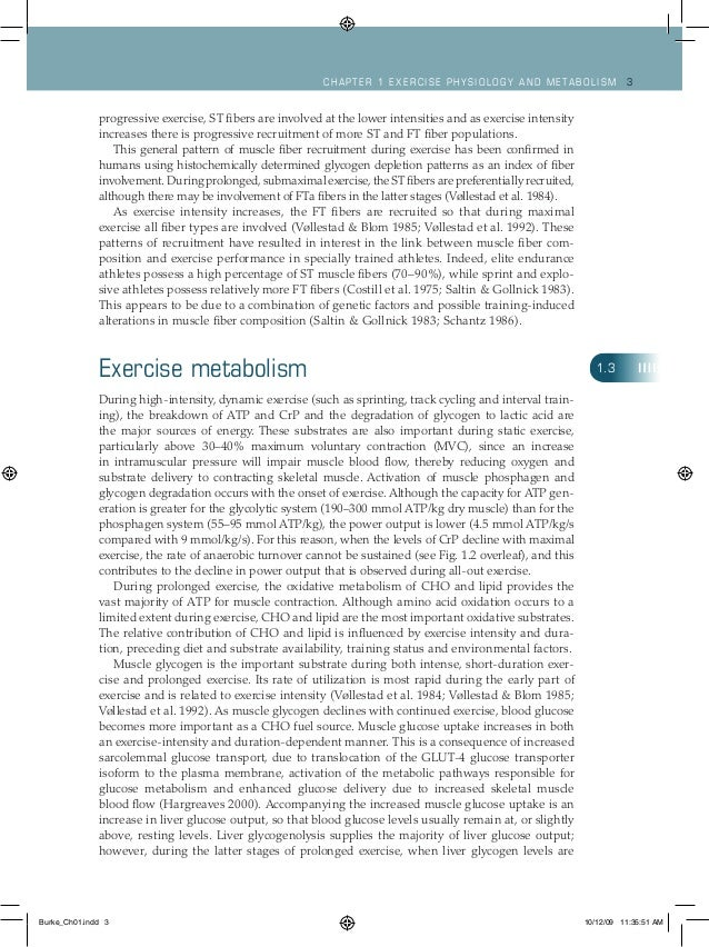Ch apt er 1 Exercise ph ysiology and metabolism 3 progressive exercise, ST fibers are involved at the lower intensities an...