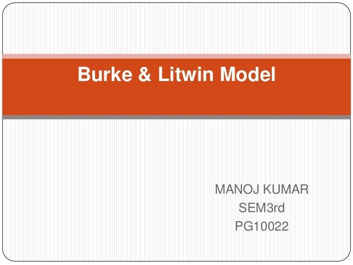 Burke & Litwin Model             MANOJ KUMAR                SEM3rd               PG10022