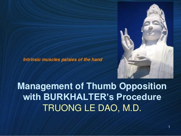 1 Management of Thumb Opposition with BURKHALTER's Procedure TRUONG LE DAO, M.D. Intrinsic muscles palsies of the hand