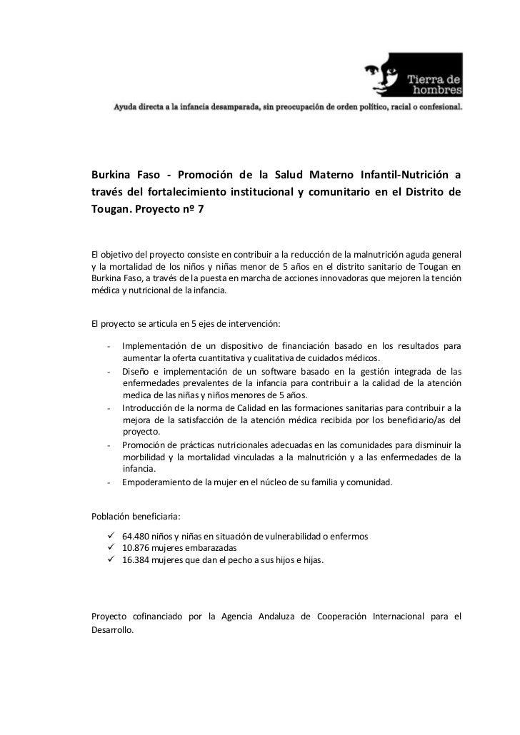 Burkina Faso - Promoción de la Salud Materno Infantil-Nutrición através del fortalecimiento institucional y comunitario en...