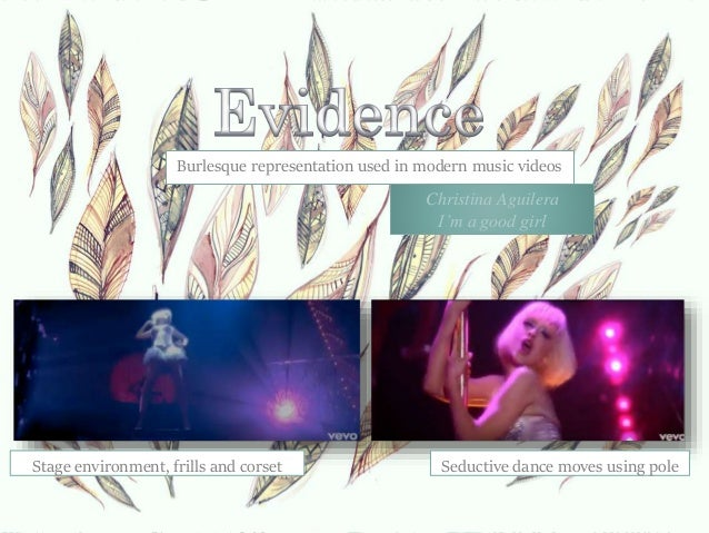 Burlesque representation used in modern music videos. Stage environment, frills and corset Seductive dance moves using pol...