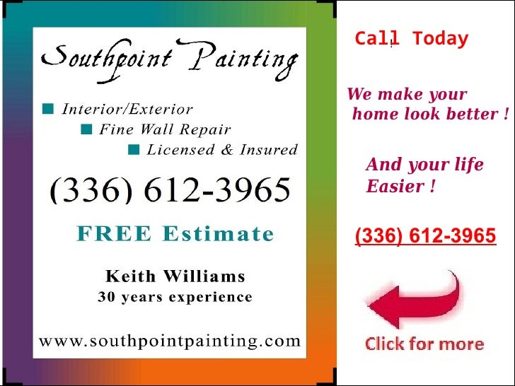 Call Today   !We make yourhome look better !  And your life  Easier !(336) 612-3965