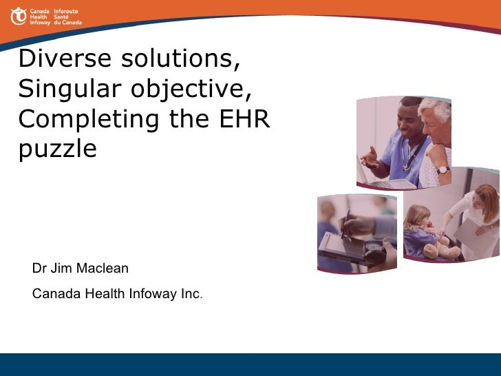 Diverse solutions, Singular objective, Completing the EHR puzzle Dr Jim Maclean Canada Health Infoway Inc .