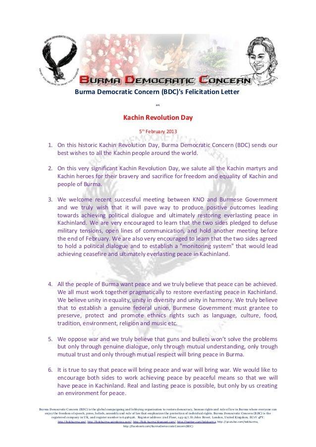 Burma democratic concern bdcs felicitation letter on kachin revolu burma democratic concern bdcs felicitation letter altavistaventures Images