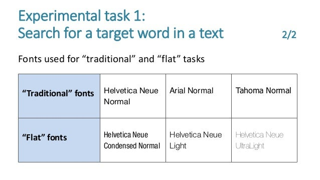 """Fonts used for """"traditional"""" and """"flat"""" tasks Experimental task 1: Search for a target word in a text 2/2 """"Traditional"""" fo..."""