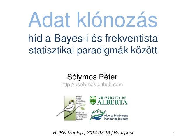 Adat klónozás híd a Bayes-i és frekventista statisztikai paradigmák között Sólymos Péter http://psolymos.github.com BURN M...