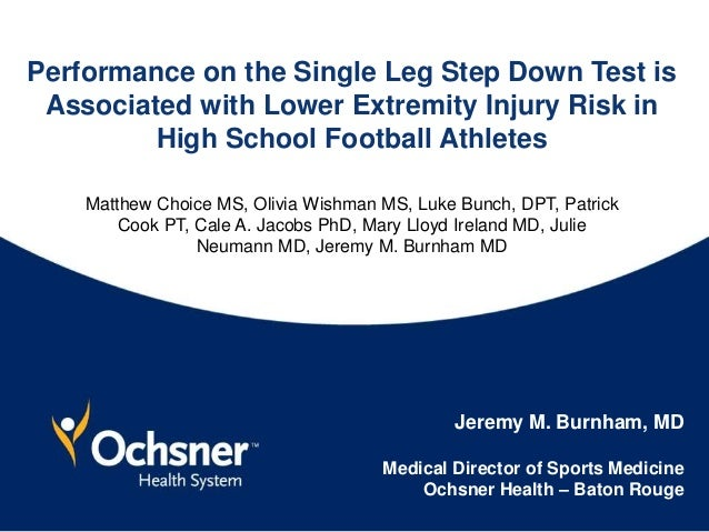 Performance on the Single Leg Step Down Test is Associated with Lower Extremity Injury Risk in High School Football Athlet...