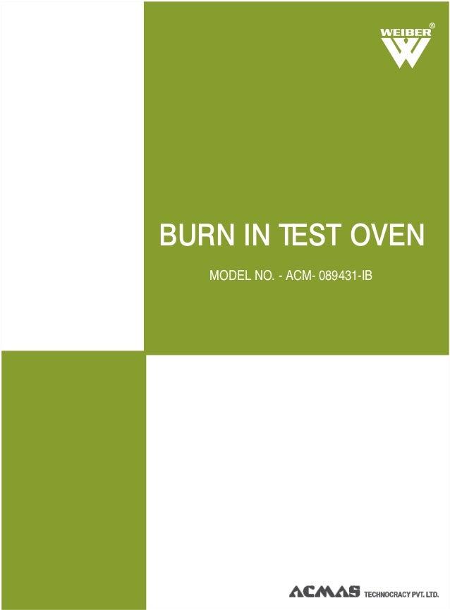 MODEL NO. - ACM- 089431-IB R BURN IN TEST OVEN