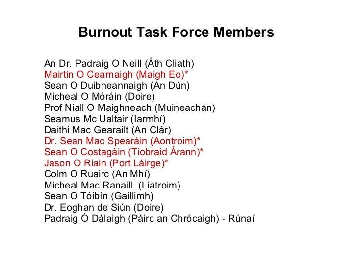 An Dr. Padraig O Neill (Áth Cliath) Mairtin O Cearnaigh (Maigh Eo)* Sean O Duibheannaigh (An Dún) Micheal O Móráin (Doire)...