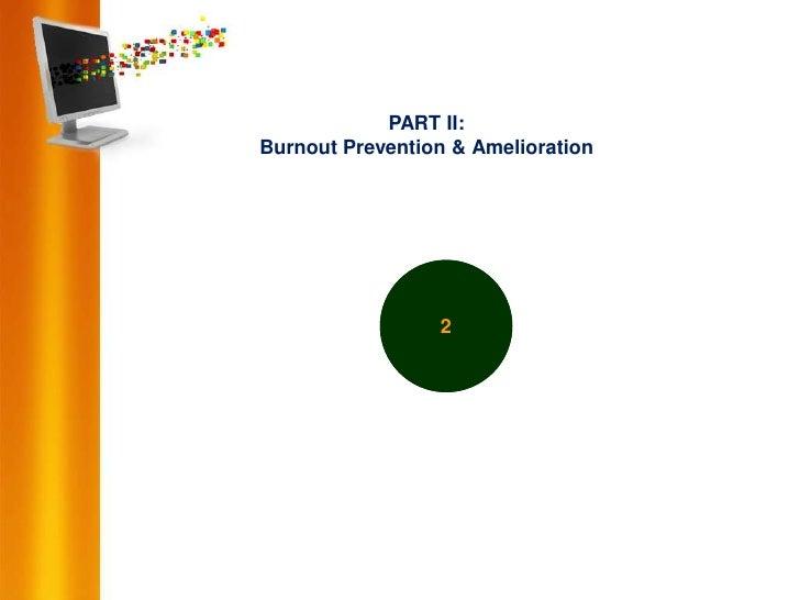 PART II:Burnout Prevention & Amelioration                 2