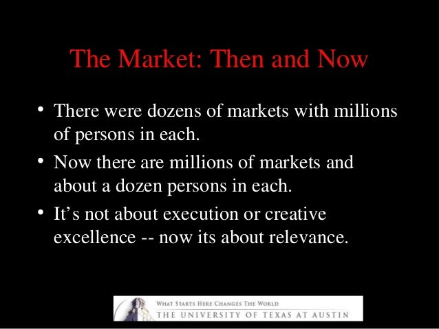 The Market: Then and NowThe Market: Then and Now • There were dozens of markets with millions of persons in each. • Now th...