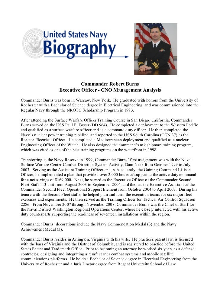 Burns military bio for Military biography template
