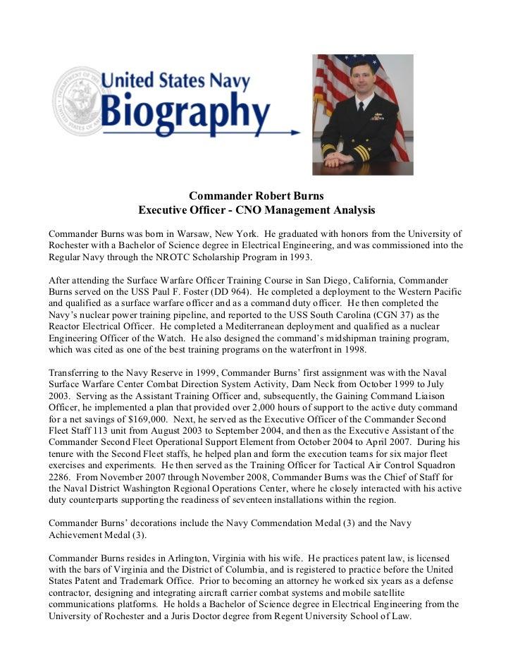 Burns military bio for Army board bio template
