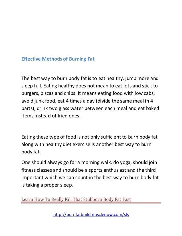 best methods of burning fat