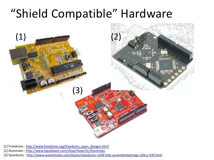 """""""Shield Compatible"""" Hardware<br />(1)<br />(2)<br />(3)<br />[1] Freeduino - http://www.freeduino.org/freeduino_open_desig..."""