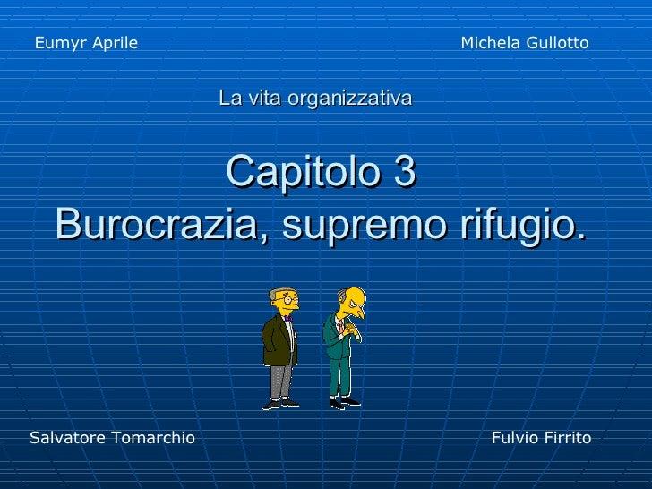 Capitolo 3 Burocrazia, supremo rifugio. Eumyr Aprile Michela Gullotto  Salvatore Tomarchio Fulvio Firrito La vita organizz...