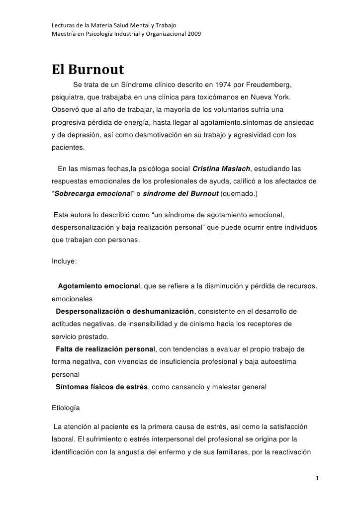 Lecturas de la Materia Salud Mental y Trabajo Maestría en Psicología Industrial y Organizacional 2009     El Burnout      ...