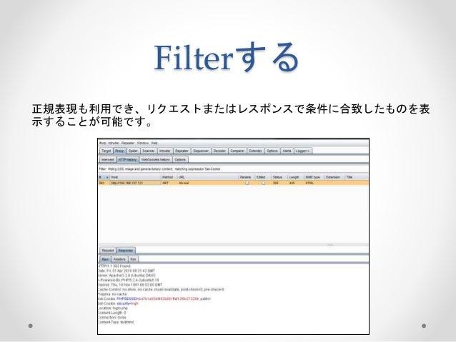 Filterする 正規表現も利用でき、リクエストまたはレスポンスで条件に合致したものを表 示することが可能です。