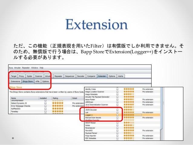 Extension ただ、この機能(正規表現を用いたFilter)は有償版でしか利用できません。そ のため、無償版で行う場合は、Bapp StoreでExtension(Logger++)をインストー ルする必要があります。