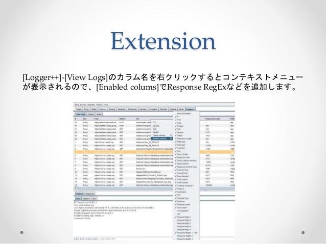 [Logger++]-[View Logs]のカラム名を右クリックするとコンテキストメニュー が表示されるので、[Enabled colums]でResponse RegExなどを追加します。 Extension