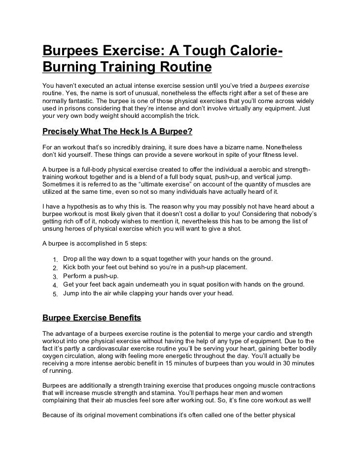 burpees exercise a tough calorie burning training routine burpees exercise a tough calorie burning training routineyou haven t executed an actual