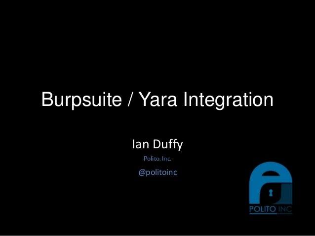 Burpsuite / Yara Integration Ian Duffy Polito,Inc. @politoinc