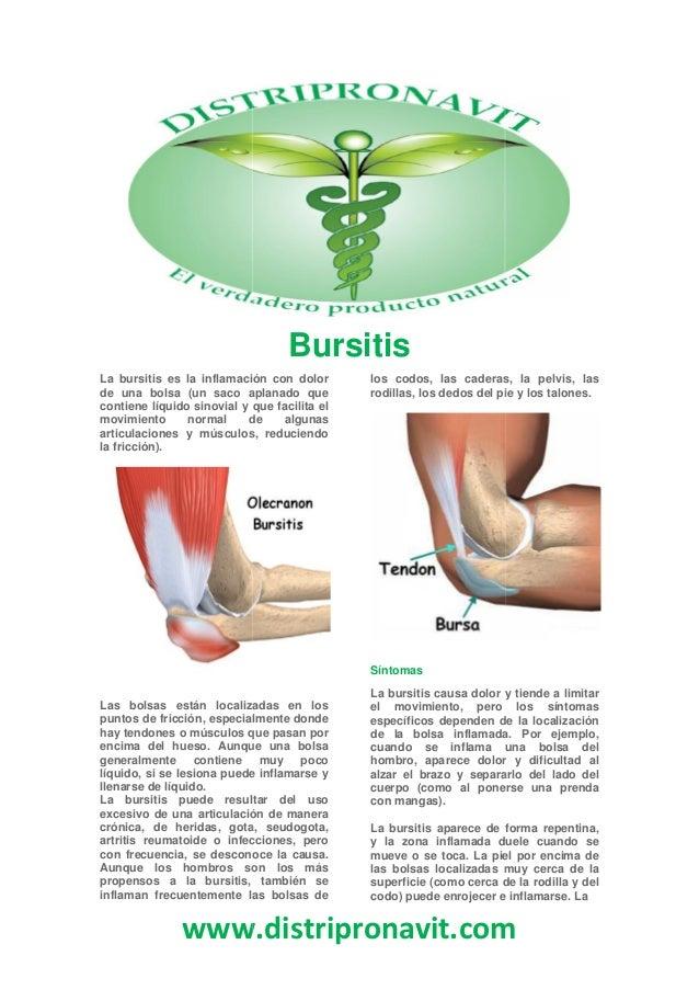 www.distripronavit.comBursitisLa bursitis es la inflamación con dolorde una bolsa (un saco aplanado quecontiene líquido si...