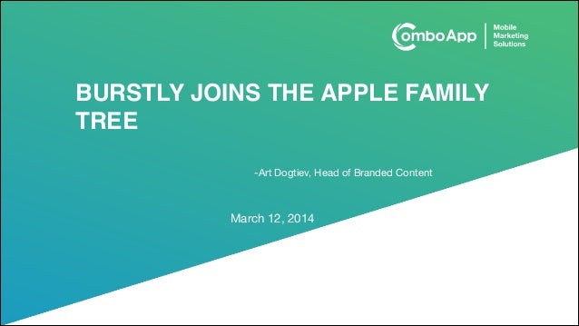 BURSTLY JOINS THE APPLE FAMILY TREE March 12, 2014 -Art Dogtiev, Head of Branded Content