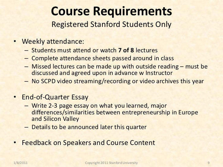 Stanford essay requirements