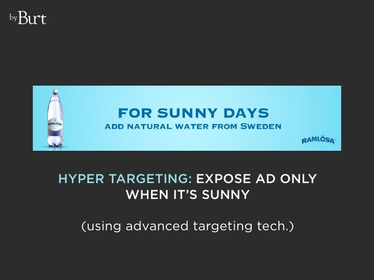 by          HYPER TARGETING: EXPOSE AD ONLY              WHEN IT'S SUNNY         (using advanced targeting tech.)