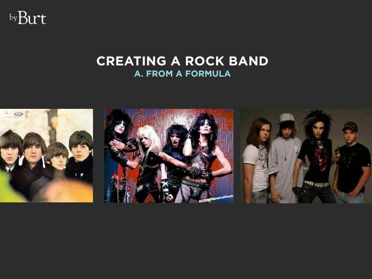 by          CREATING A ROCK BAND          A. FROM A FORMULA