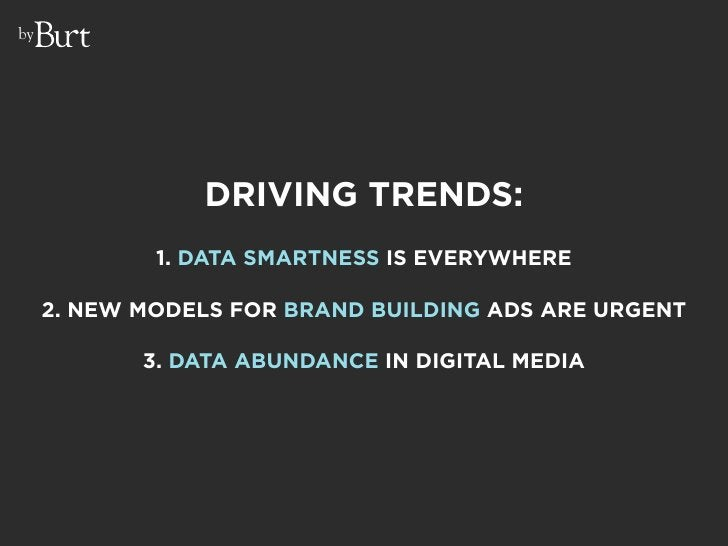 by                     DRIVING TRENDS:              1. DATA SMARTNESS IS EVERYWHERE       2. NEW MODELS FOR BRAND BUILDING...
