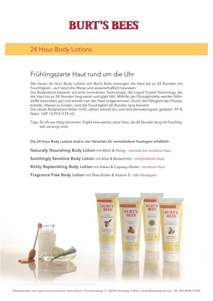 BURT'S BEES                                         ®             24 Hour Body Lotions             Frühlingszarte Haut run...