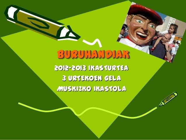 BURUHANDIAK2012-2013 IKASTURTEA  3 URTEKOEN GELA MUSKIZKO IKASTOLA