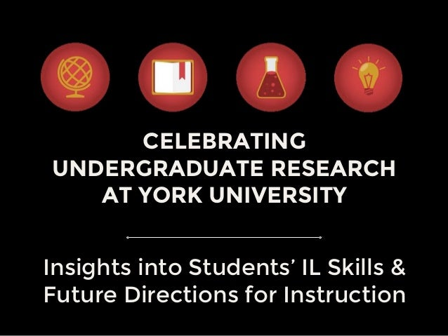 CELEBRATING UNDERGRADUATE RESEARCH AT YORK UNIVERSITY Insights into Students' IL Skills & Future Directions for Instruction