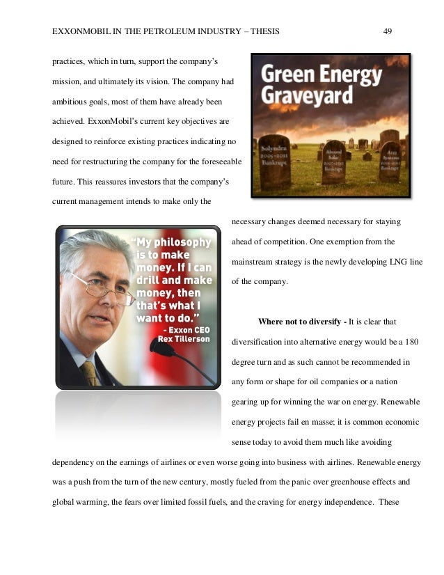 Exxon mobil aims objectives and analysis