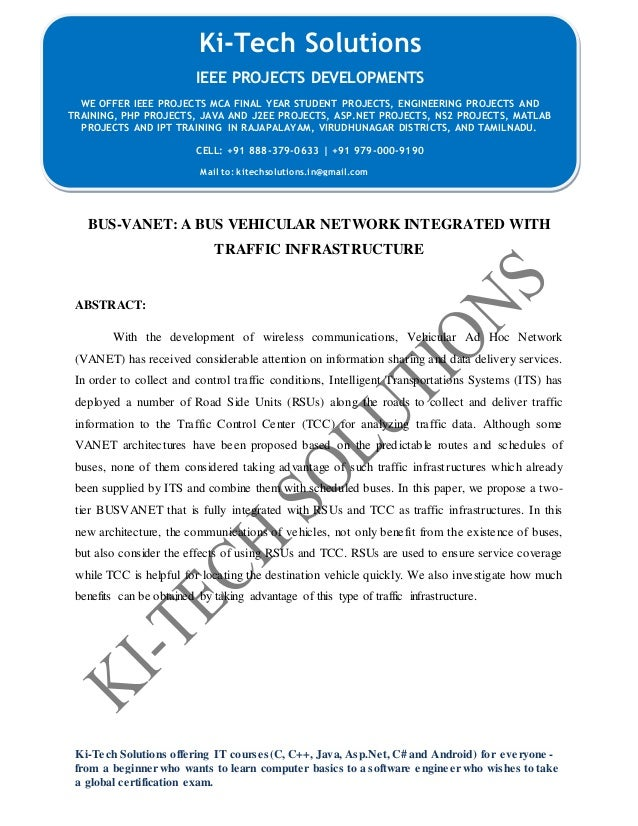 IEEE 2015 NS2 Bus vanet a bus vehicular network integrated