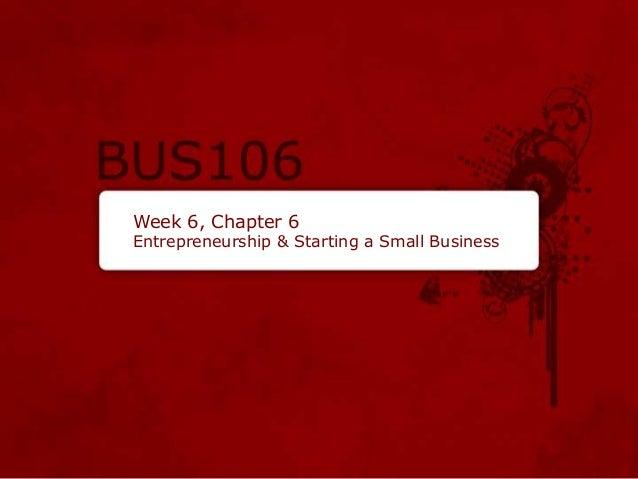 Week 6, Chapter 6 Entrepreneurship & Starting a Small Business