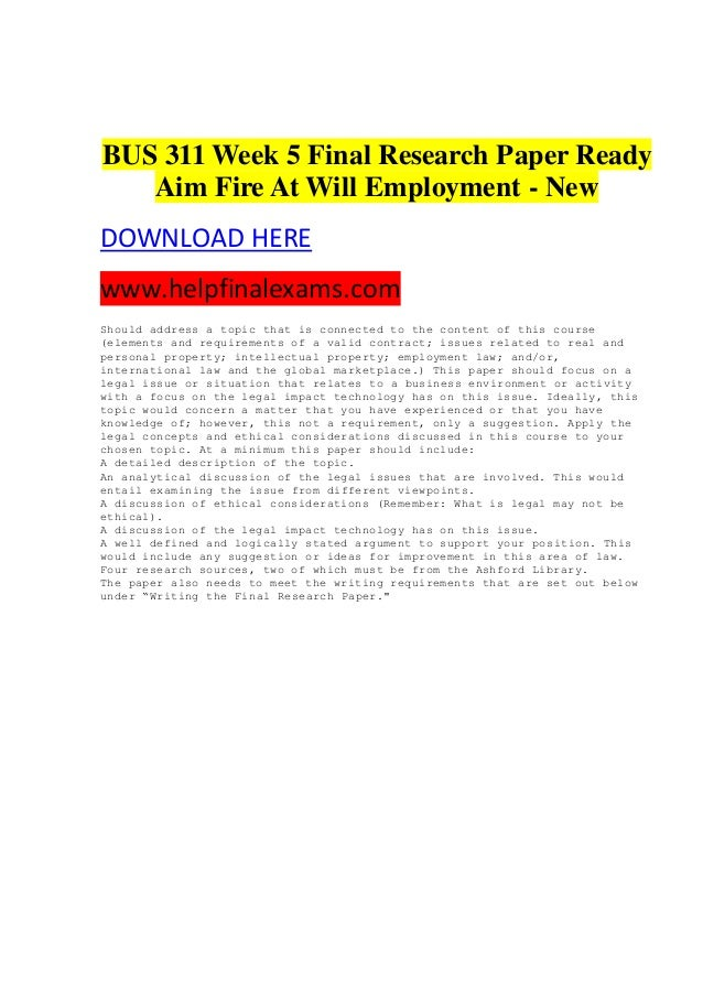 employment at will paper Employment at will: overview and recent case law developments 1999) title.