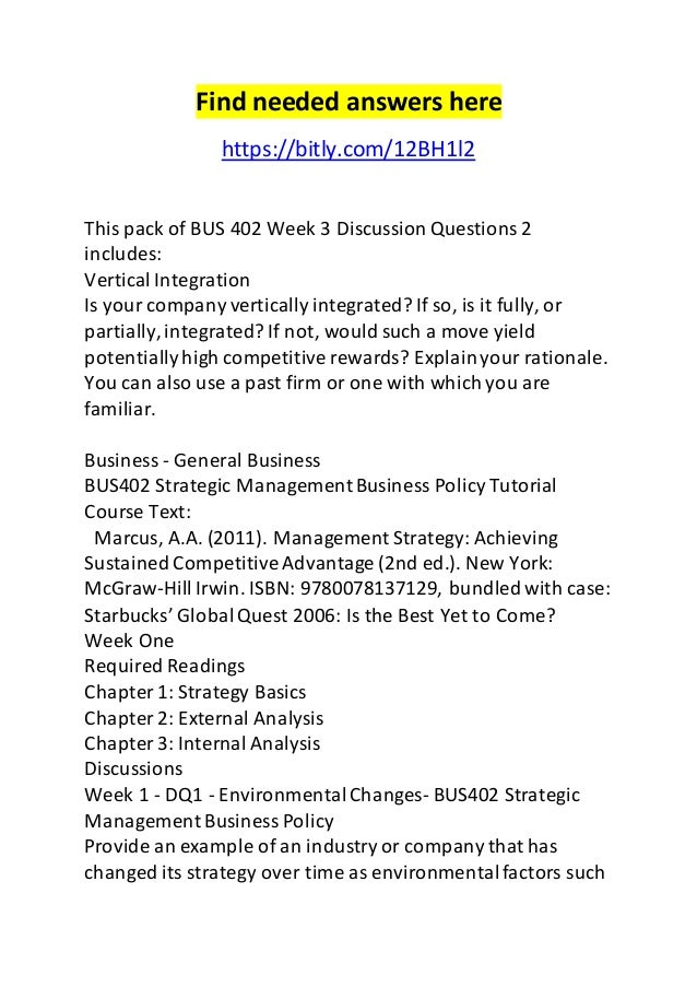 Find needed answers here  https://bitly.com/12BH1l2  This pack of BUS 402 Week 3 Discussion Questions 2  includes:  Vertic...
