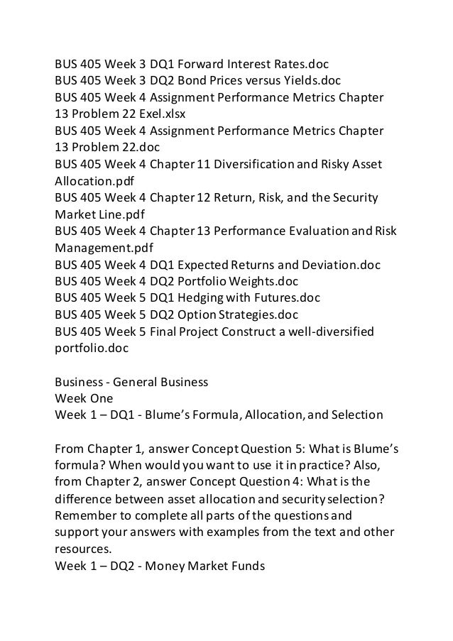 BUS 405 Week 1 DQ 2 Money Market Funds