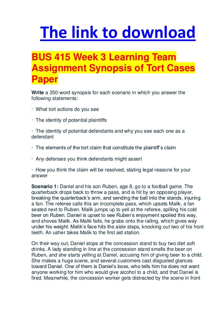 pages BUS     Week   Learning Team Assignment Synopsis of Tort Cases  Paper   Scenario   Yumpu