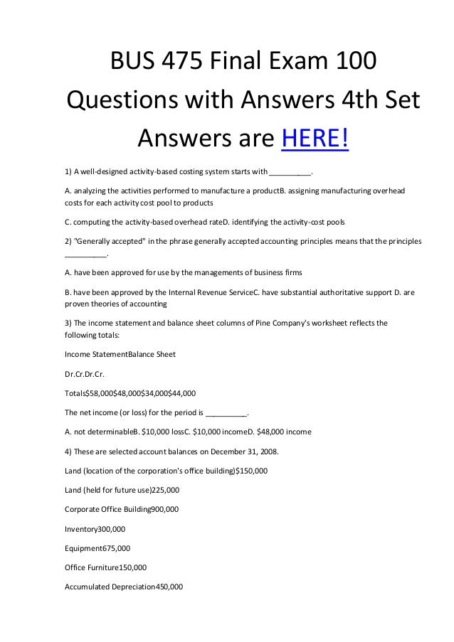 Bus 475 final exam part 1   100 questions and free answers key.