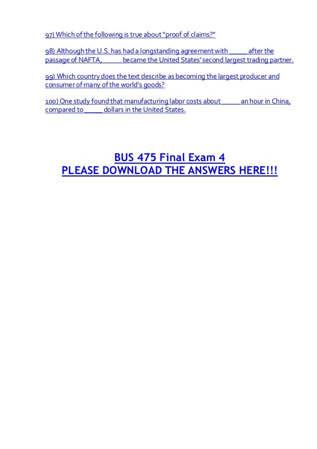 bus 475 final exam answers 2018-07-18 read and download bus 475 final exam answer key free ebooks in pdf format - new english file pre intermediate answer ready for ielts sam mccarter answers prentice hall geometry test answers unscrambling the periodic table.
