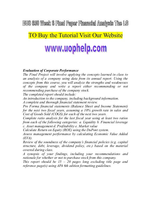 TO Buy the Tutorial Visit Our Website Evaluation of Corporate Performance The Final Project will involve applying the conc...