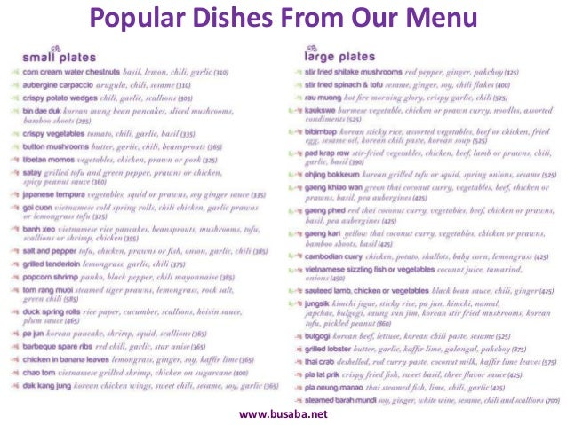 Busaba pan asian cuisine restaurant in mumbai for Asia asian cuisine menu
